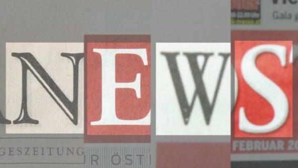 """Dekobild: ausgeschnitte Buchstaben von verschiedenen österreichischen Zeitungen ergeben das Wort """"News""""."""