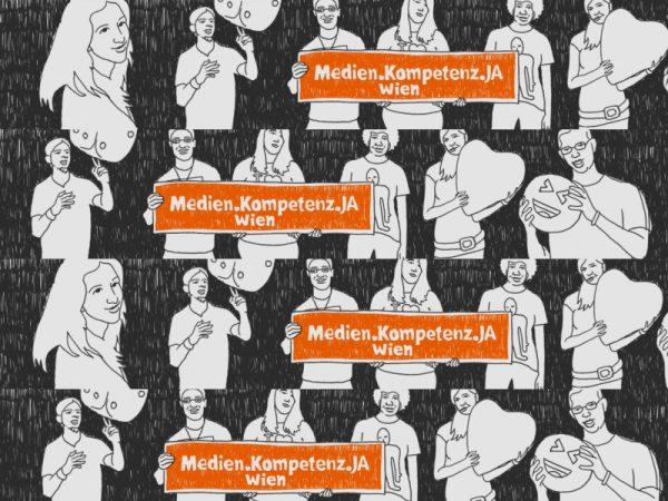 """Dokubild. Eine Bleisstiftzeichung von jungen Menschen die nebeneinander dargstellt sind. Eine Figur hält ein Herz, eine andere balanciert einen Würfel. In der Mitte ist auf orangen Hintergrund """"Medien.Kompetenz.Ja Wien"""" zu lesen."""