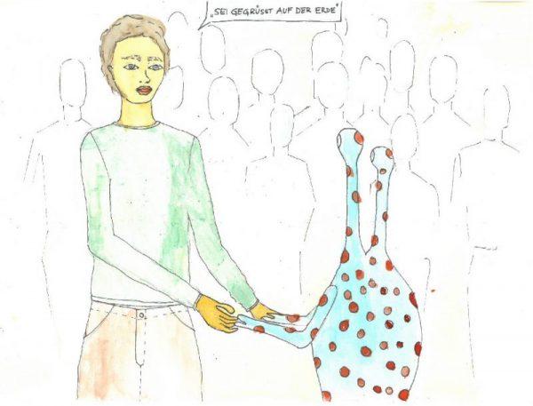 Ein gezeichneter dargestellter Mensch, reicht einem zweiköpfigen, rot gepunkteten, sonst türkisen Alien die Hände. In der Sprechblase steht: Sei gegrüsst auf der Erde. Im Hintergrund sind schemenhaft weitere Menschen gezeichnet.Das Märchen vom Alien ohne zu Hause