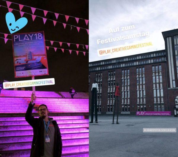 Foto eines Mannes, der ein SChildin die Höhe hält: Play18, er macht Werbung für das Creativegamingfestival