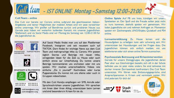 Sreenshot von der Homepage des Verein Multikulturelles Netzwerk, Cult.team, Bewerbung des Onlineangebotes