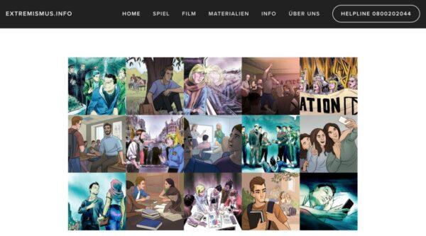 Das Bild zeigt die Webseite von Extremismus.info