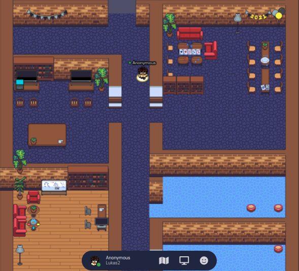 Das Bild zeigt das Online-Jugendzentrum von Come In auf gather.town